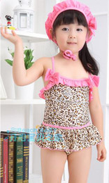 Wholesale BEACH BABY girls swimwear with cap Separated leopard pink