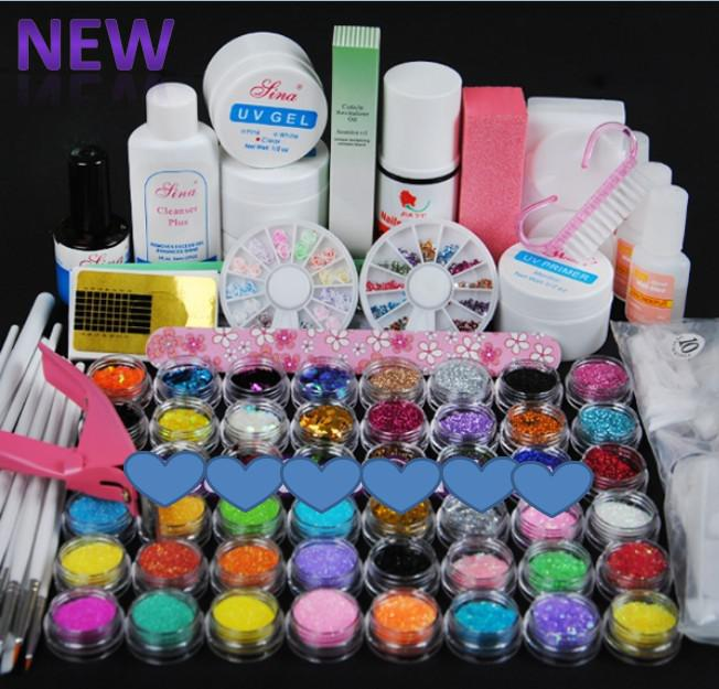 wholesale - UV GEL NAIL KIT 48 Powders 10 Glues FILE BLOCKS Primer
