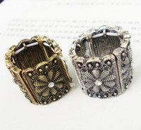 Wholesale vintage style Rhinestone Puzzle Flower stretch Ring Adjustable Size women s jewelry