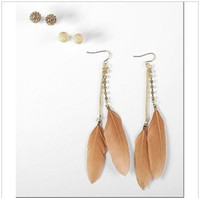 coffee Euramerican Women's Fashion coffee Euramerican Pop natural feather earrings exoticism women's Drop Earrings 48pairs lot