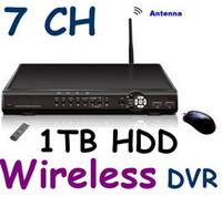 al por mayor alambre sistema de cámaras de seguridad-7CH H.264 1T HDD DVR CCTV seguridad sistema inalámbrico DVR 4 cámaras de vídeo 4 señal inalámbrica + 3 por cable señal de cctv