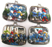 Wholesale 12 D Movie The Smurfs new Coin Purse Wallet clasp Fashion Gift