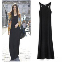 Wholesale New Hot Sexy Casual Ladies Fashion Black Sleeveless Chiffon Tank Long Dress