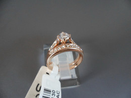 Jewelry Rings betrothal ring Rigant 18k gold-plated finger ring crystal CZ diamond Rhinestone Case