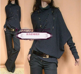 Wholesale 2012 autumn new women outfit women s sloping shoulders show thin knitting sweater bat sweater loose