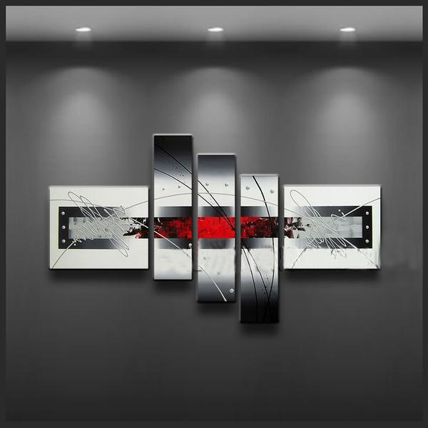 Black white and red wall art new beginnings red black for Black and white wall art