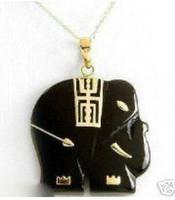Cheap Elegant Black Jade Elephant Necklace Pendent