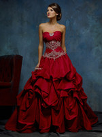 Wholesale Dainty Hot Red Ruffles Ball Gown Court Train Embriodery Beaded Zipper Wedding Gowns Bridal Dresses