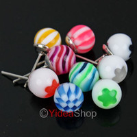 Wholesale 72pcs Mixed Colorful Ear Ball Shaped UV Alloy piercing Earring Earings Studs Rings