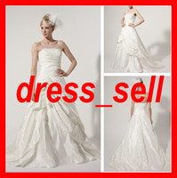 Wholesale New Charming BridalGown Wedding Dresses Strapless StainPleat Ruffle A Line Sweep Court Train