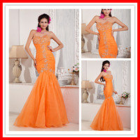 Hot Straps Sexy Mermaid Sweetheart Beaded Orange Organza Lon...