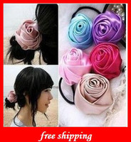 Wholesale Cute Rose Flower Hair Head quot Mini Satin Roses Flowers Heads Rosette Flowers For Hair Ribbon Rose