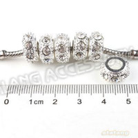 Wholesale Hot Clear Rhinestone Silver Plated Charms Bead Fit European Bracelet DIY In Stock