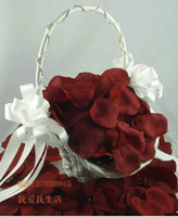 Wholesale 2000pcs Burgundy Wine Red Silk Rose Petals Flower Girl Basket Decor Wedding Favor