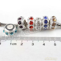 Round RHINESTONE - 6 Mixed Rhinestone Silver Plated Charms Beads for Pandora Bracelet DIY In Stock