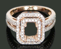 Wholesale jewellery Emerald x7mm Solid kt Rose Gold Natural Ct Diamond gagement Semi Mount Ring