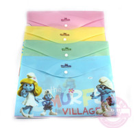 Wholesale 12pcs The Smurfs High Quality Lovely Cute Cartoon Document bag Case File Folder Document Pouch