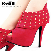 Wholesale woman s high heels suede the rivet decoration with high Kvoll cm size new