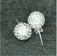 Wholesale fashion disco ball mm Silver Crystal Earrings pairs