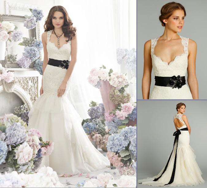 2013 Sexy V Neck Mermaid Lace Wedding Dresses Backless Sash ...