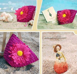 Wholesale Lovely handbag with flower baby girls favorite aesthetic straw bags cute design diagonal