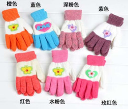 Wholesale Boys and Girls Gloves Childrens Warm Kids Mittens Mohair Applique Knitting Glove