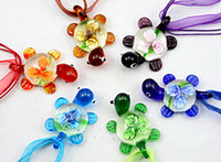 Wholesale Tortoise murano glass pendant necklace Fashion mix Italian venetian Lampwork D Flower glass jewelry