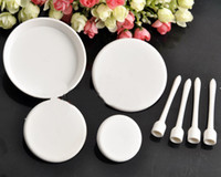Wholesale 4pcs Circle Cake Serving stand plate platter pedestal raised tray Cupcake NEW
