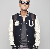 new design men jacket - New school style stitching Leather sleeve design baseball uniform men s baseball jackets