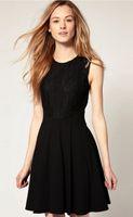 Wholesale 2014 Hot sale black cotton Lace temperamental narrow waist women s dresses Ladies casual dress