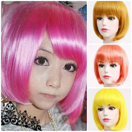 Wholesale 3pcs high quality ladies party wigs short hair synthetic wigs Christmas wigs cosplay wigs colors