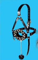 Wholesale Great Funny Sexy game use Open Mouth Gag Stopper w cover Leather Head Harness Hood Bondage JD461