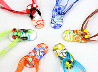 European murano glass - Shoes murano glass pendant necklace Fashion Italian venetian Lampwork beaded D Flower glass jewelry