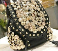 Wholesale shiny button rock black beige day evening bag backpack shoulder bag Handbag vintage Designer Lady