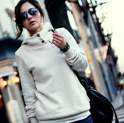 8060 Women's Hoodies Sweatshirts Sidelong Zipper With Hat Blouse Grey&White Online with $18.85/Piece on Tanshi168's Store | DHgate.com