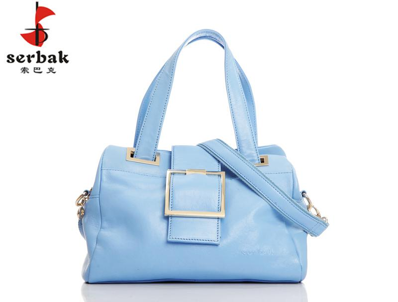 serbak woman's sky blue messenger baghandbag, soft leather casual bag