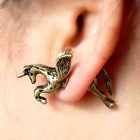 Wholesale Vintage Rock Punk Cute Unicorn Horse Ear Stud Earrings