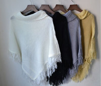 Wholesale Hot sale knitwear knitted Hollow out hook flower bats cloak tassel knitting sweater smock shawl