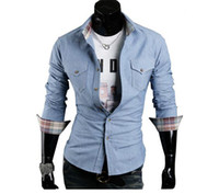 Wholesale Collision color Slim denim shirt with high grade oxford fabric men s plaid long sleeved shirt