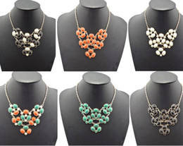 Choker Bib Necklace mix color jewelry New Facets Round Ellipse Resin GemStone Charms Golden
