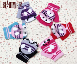 Wholesale Boys and Girls Fingerless Gloves Cartoon Flip Half Mittens Baby Kids Children Winter Warm Glove