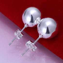 E074 925 Silver Fashion Pretty 10mm Beads Earrings , Nickle Free Antiallergic Jewelry 100% Brand New
