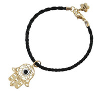 Wholesale 14K GP gold plated sideways bracelet chain hamsa evil eye leather charm