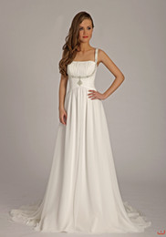Wholesale Spaghetti strap Beading Chiffon Floor length A Line Gown Lisa Donetti Wedding Dress