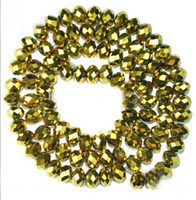 Wholesale 4 mm Golden Faceted Roundlle Austria Crystal Bead Charms Loose Beads Supplies