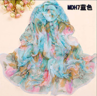Wholesale Hot Sale Womens Fashion Colorful Silk Chiffon Scarf Soft Scarves Mix Design x cm