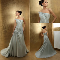 Wholesale modest colored one shoulder asymmetrical ruffled matching a lace up A line bride gown