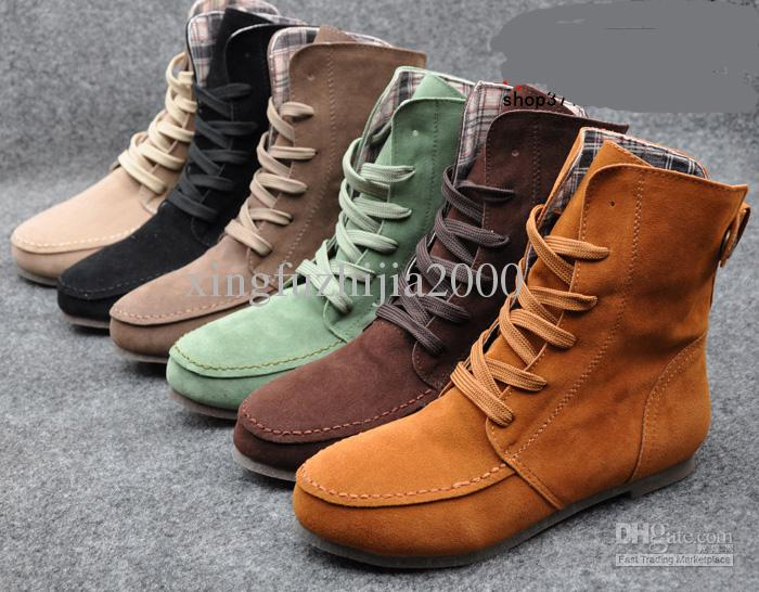 Women Girls Fashion Style Lace Up Winter Boots Flat Ankle - Latest Flat Sandals For Girls With Price