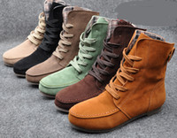 Wholesale Women Girls Fashion Style Lace Up Winter Boots Flat Ankle shoe Martin boots
