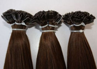 Cheap Indian Hair flat tip hair extensions Best Medium Brown Under $100 remy indian hair